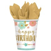 Boho Happy Birthday Paper Cups 8pk