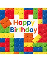 Building Blocks Happy Birthday Luncheon Napkins 16pk