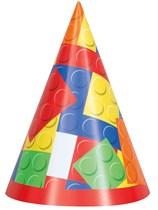 Building Blocks Cone Party Hats 8pk