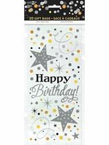 Glittering Happy Birthday Cello Bags 20pk