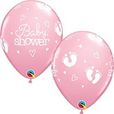 Pink Baby Shower Footprints Latex Balloons 25pk