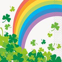 Rainbow Shamrock St Patrick's Beverage Napkin 16pk