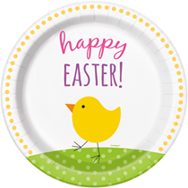 """Happy Easter Chick 9"""" Paper Plates 8pk"""