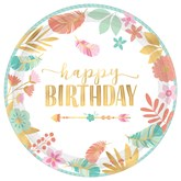 Boho Happy Birthday 26cm Metallic Paper Plates 8pk