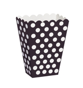 Popcorn Treat Boxes Decorative Dots Black 8pk