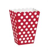 Popcorn Treat Boxes Decorative Dots Ruby Red 8pk