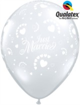 "Diamond Clear Just Married Hearts 11"" Latex Balloons 50pk"