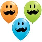 "11"" Assorted Smiley Face Moustache Balloons - 50pk"