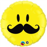 """18"""" Yellow Moustached Smiley Face Foil Balloon"""