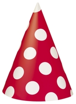 8 Decorative Dots Ruby Red Party Hats