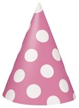 8 Decorative Dots Hot Pink Party Hats