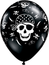 "Black Pirate Skull 11"" Latex Balloons 25pk"