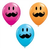 """5"""" Assorted Smiley Moustaches Latex Balloons - 100pk"""