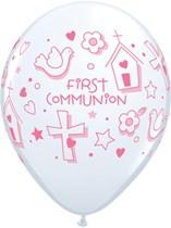 "First Communion Pink Symbols 11"" Latex Balloons 25pk"