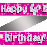 4th Birthday Pink Holographic Banner