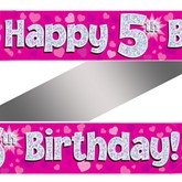 5th Birthday Pink Holographic Banner