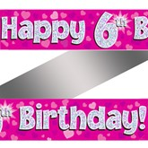 6th Birthday Pink Holographic Banner