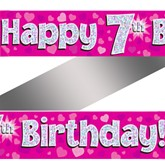 7th Birthday Pink Holographic Banner