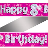 8th Birthday Pink Holographic Banner