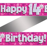 14th Birthday Pink Holographic Banner
