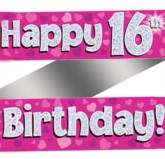 16th Birthday Pink Holographic Banner