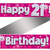 21st Birthday Pink Holographic Banner