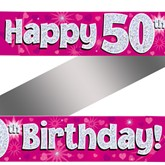 50th Birthday Pink Holographic Banner