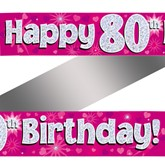 80th Birthday Pink Holographic Banner