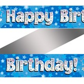 Blue Happy Birthday Holographic Banner