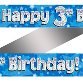 3rd Birthday Blue Holographic Banner
