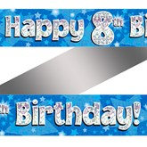 8th Birthday Blue Holographic Banner
