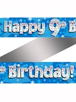 9th Birthday Blue Holographic Banner