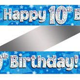 10th Birthday Blue Holographic Banner