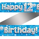 12th Birthday Blue Holographic Banner