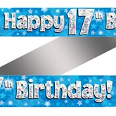 17th Birthday Blue Holographic Banner