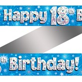 18th Birthday Blue Holographic Banner