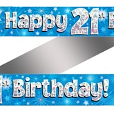 21st Birthday Blue Holographic Banner