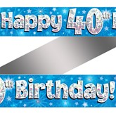 40th Birthday Blue Holographic Banner