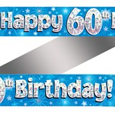 60th Birthday Blue Holographic Banner