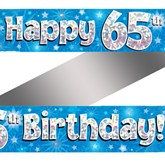 65th Birthday Blue Holographic Banner