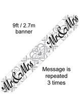 Mr & Mrs Wedding Foil Banner 9ft