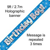 Birthday Boy Blue Holographic Banner 9ft