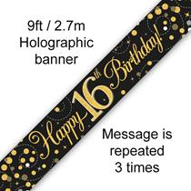 Sparkling Fizz Black & Gold 16th Birthday Banner