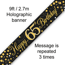 Sparkling Fizz Black & Gold 65th Birthday Banner