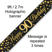 Sparkling Fizz Black & Gold 90th Birthday Banner