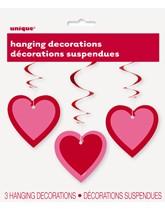 Valentine's Pink Heart Hanging Swirl Decorations 3pk
