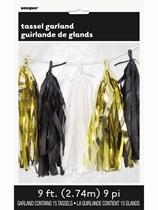 Metallic Gold, Black & White Tassel Garland 9ft