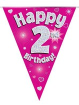 Pink Happy 2nd Birthday Holographic Flag Banner