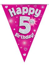 Pink Happy 5th Birthday Holographic Flag Banner