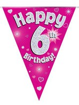 Pink Happy 6th Birthday Holographic Flag Banner